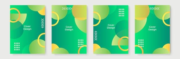 緑と黄色の抽象的なグラデーションの幾何学的なカバーデザイン、流行のパンフレットテンプレート、カラフルな未来的なポスター。ベクトルイラスト