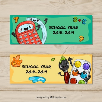 Green and yellow back to school banners