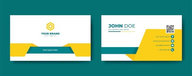 ビジネスデザインのための緑と黄色の名刺