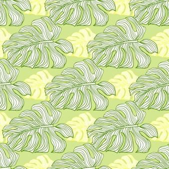 녹색과 노란색 윤곽이 있는 몬스테라는 매끄러운 낙서 패턴을 남깁니다. 파스텔 열대 미술품. 직물 디자인, 직물 인쇄, 포장, 덮개를 위한 장식적인 배경. 벡터 일러스트 레이 션.