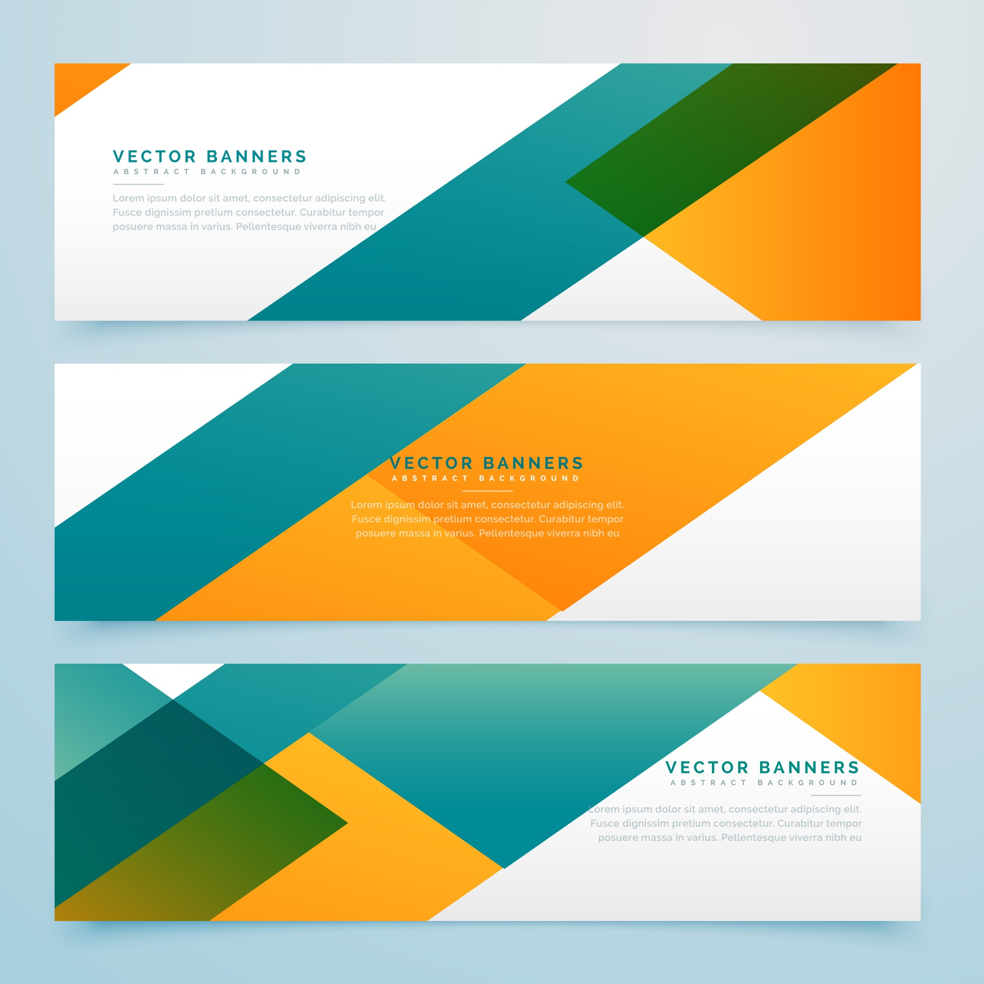 Green and yellow geometric banners