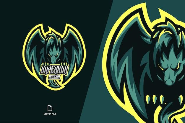 スポーツとeスポーツチームテンプレートの緑の怒っているドラゴンマスコットゲームのロゴ