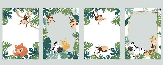 ライオン、キツネ、キリン、シマウマ、サル入りサファリフレームの緑の動物コレクション
