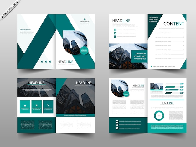 Green annual report brochure design template