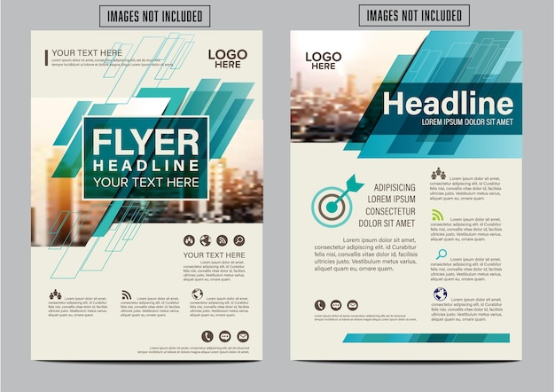Green annual report cover page. layout design template.