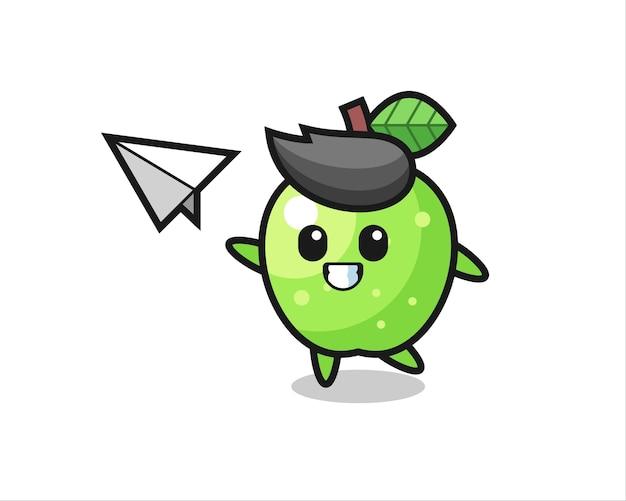 종이 비행기를 던지는 녹색 사과 만화 캐릭터, 티셔츠, 스티커, 로고 요소를 위한 귀여운 스타일 디자인