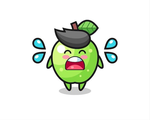 Иллюстрация шаржа зеленого яблока с жестом плача, симпатичный дизайн стиля для футболки, стикер, элемент логотипа