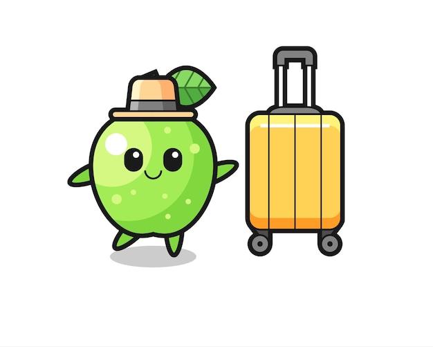 Иллюстрация шаржа зеленого яблока с багажом в отпуске, милый стиль дизайна для футболки, стикер, элемент логотипа