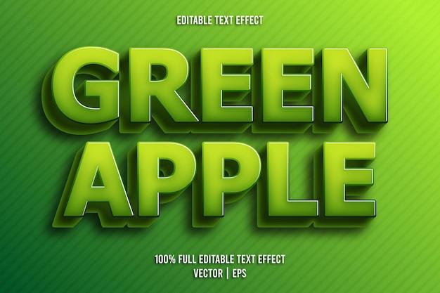 녹색 사과 편집 가능한 텍스트 효과 만화 스타일