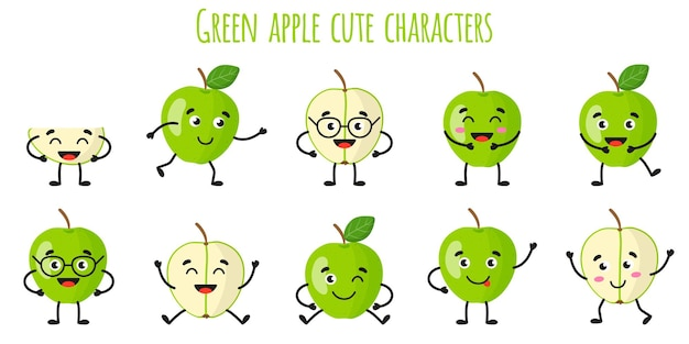 Green apple fruit cute funny cheerful characters with different poses and emotions. natural vitamin antioxidant detox food collection.   cartoon isolated illustration.
