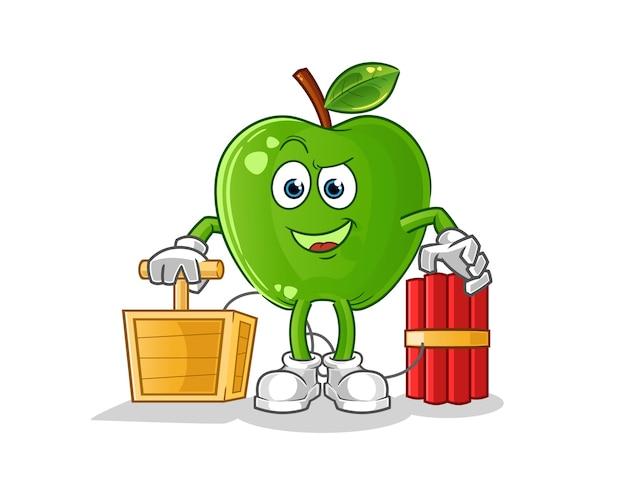 Green apple holding dynamite detonator character