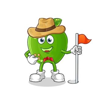 Вектор разведчика зеленого яблока. мультипликационный персонаж