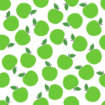 Green apple seamless pattern background vector design