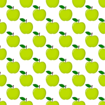 Green apple seamless pattern and slices. fruit summer