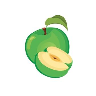 Зеленое яблоко - целые и нарезанные фрукты. иллюстрации шаржа
