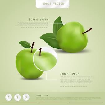 緑のリンゴの背景。ポスターデザイン。