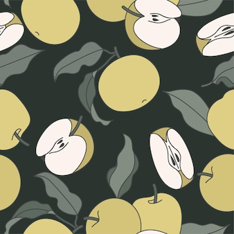 Green apples drawings seamless patter on dark green background
