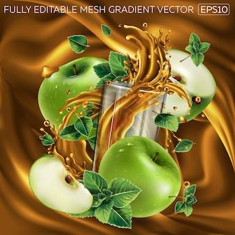Зеленые яблоки, листья мяты и стакан сока на фоне фруктового сока.