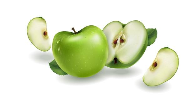 Зеленые яблоки на белом фоне