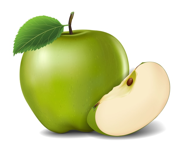 Green apples with green leaves and apple slice