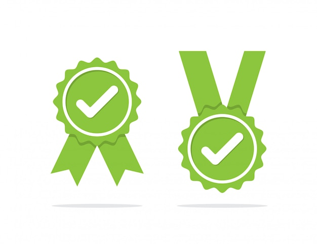 Green approved medal or certified medal icon with shadow. vector illustration