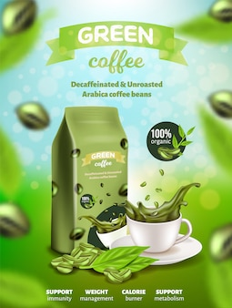 Green arabica coffee poster, decaffeinated beans