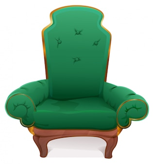 Green armchair. cushioned furniture
