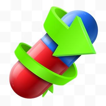 Зеленая стрелка вокруг пилюли. концепция медицины.