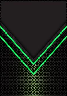 緑矢印の光の方向の六角形メッシュの黒い背景。