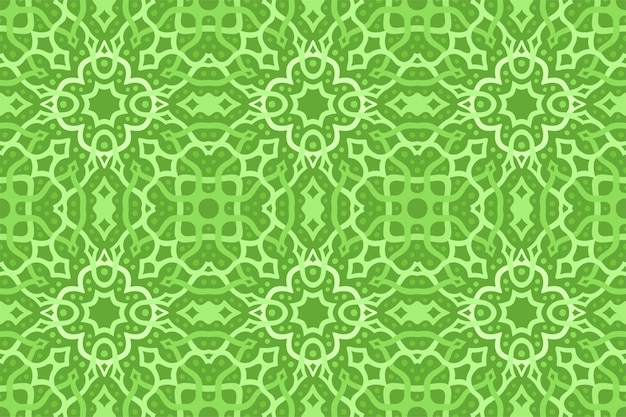Green art with abstract knotwork seamless pattern