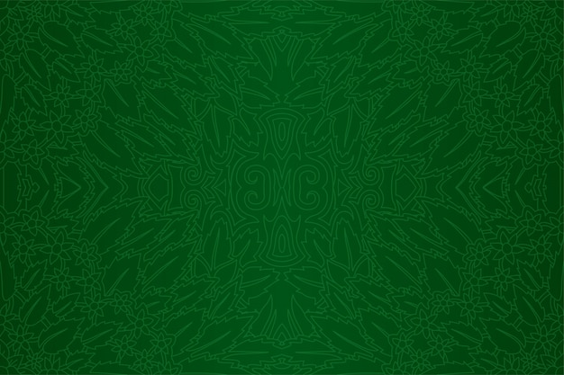 Green art with seamless floral linear pattern