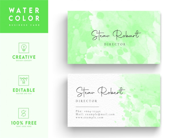 Green artistic and vibrant watercolor business card template design