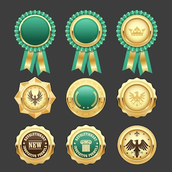 緑の賞のロゼットと金メダル-賞の記章