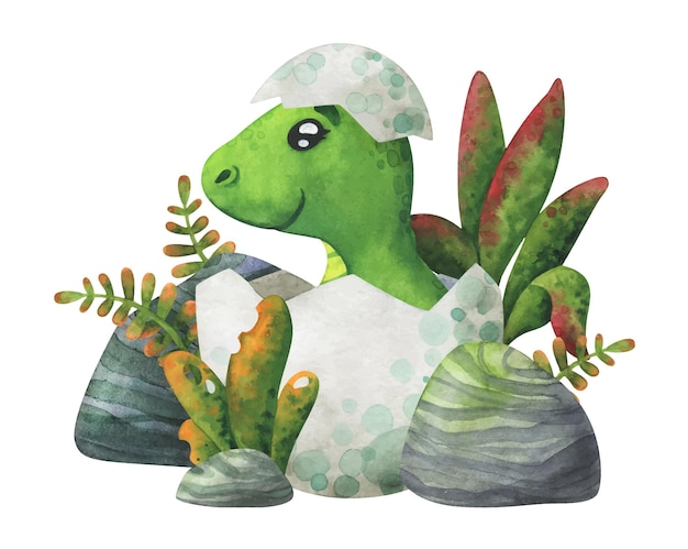 A green baby dinosaur hatched from an egg in the jungle. cute character for decor with  animals