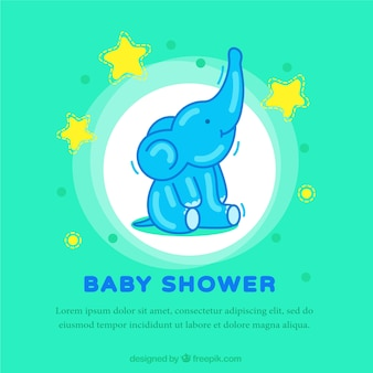 Green baby shower card with an elephant