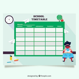Green back to school timetable template