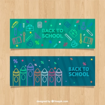 Green back to school web banners