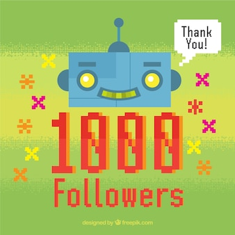 Green background of 1k followers with robot