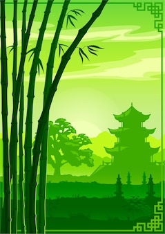 녹색 배경, 아시아, 중국 사원 및 대나무