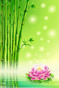 緑の背景、竹と蓮