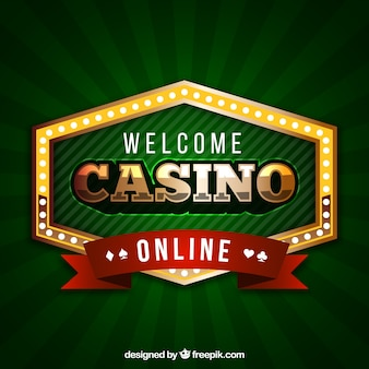 Green background of casino badge
