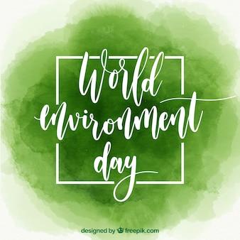 水色の世界環境の日のための緑の背景