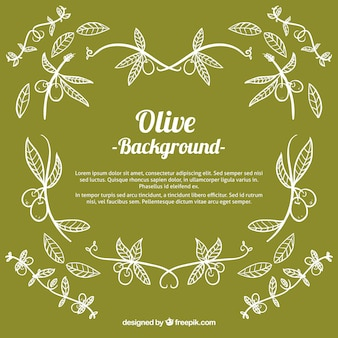 Green background of hand-drawn olives