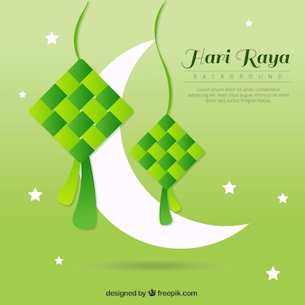 Green background of hari raya with moon