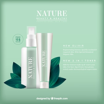 Green background of natural cosmetics