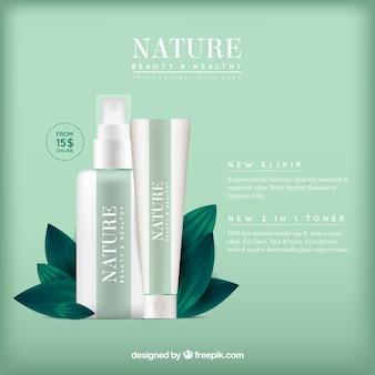Зеленый фон натуральной косметики
