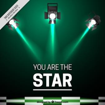 Зеленый фон прожекторами