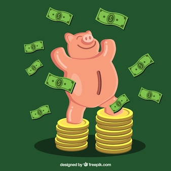 Green background of triumphant piggy bank with bills and coins