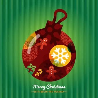 クリスマスボールと緑の背景