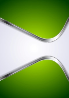 Green background with abstract metal waves. vector design